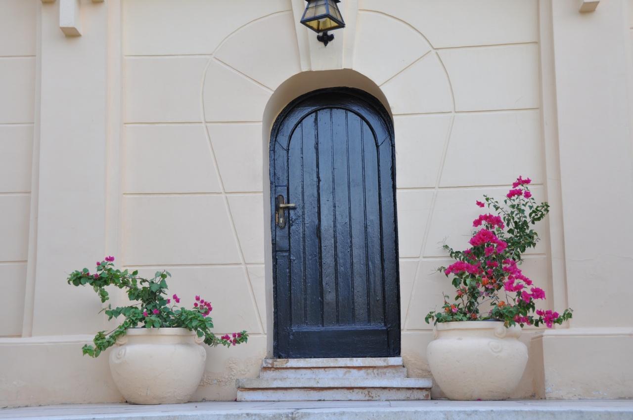 Détail façade côté jardins. Porte sous l'escalier d'accès à l'hôtel.