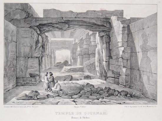 LITHOGRAPHIE EGYPTE DE BUSSIERRE 1829 QOURNAH THEBES