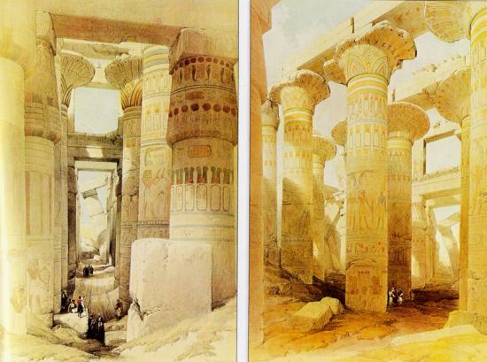 La salle hypostyle de Karnak - Robert 1839