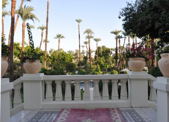 Le jardin vue de l'escalier d'accès à l'hôtel.