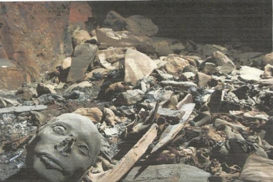 Des restes de sarcophages en bois et de masques mortuaires ont été découverts sur les lieux, ainsi que des vases canopes, ou morceaux de canopes, ces récipients dans lesquels étaient déposés les viscères des défunts après leur embaumement.