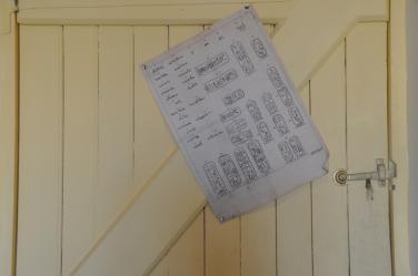 Sur la porte du bureau, une page recouverrte de cartouches ptolémaiques