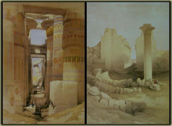 La salle hypostyle à Karnak. par David Roberts en 1839