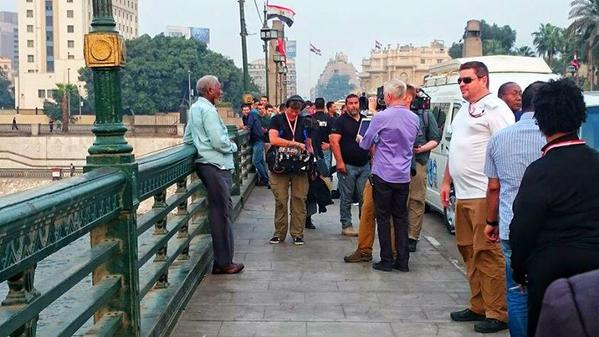 Hollywood icon Morgan Freeman seen on Qasr el-Nil bridge near Tahrir Square
