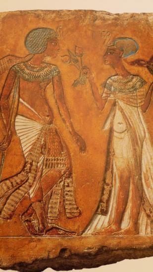 Couple royal, sans doute Akhenaton et Nefertiti