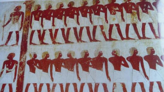 (représentation du bureau de Rekhmirê, avec les gardiens devant la porte) tombe de Rekhmirê