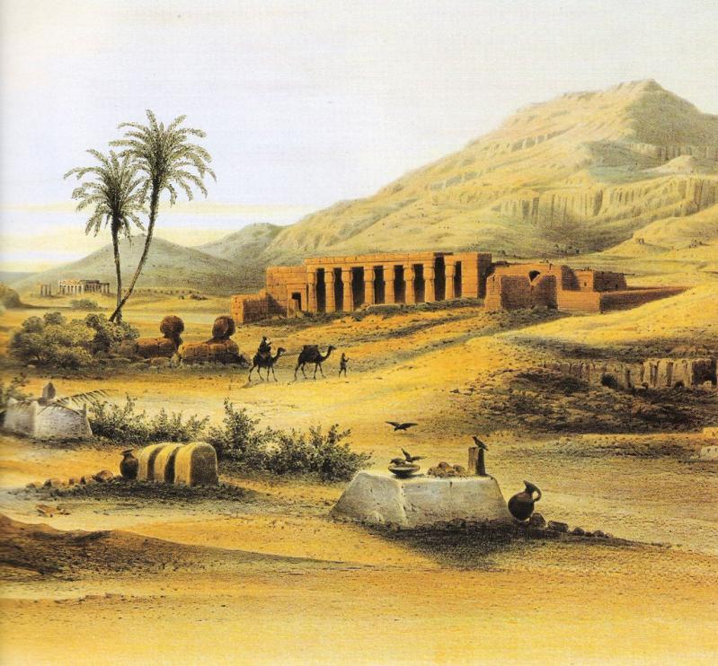 Derrière le temple, on apperçoit la Cime d'Occident, la montagne thébaine.